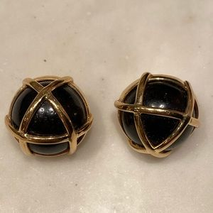 VERDURA Gold Caged cocobolo wood earrings